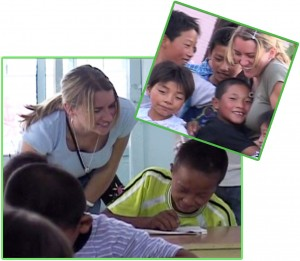 Lisa Bay Santiago with foster children in China